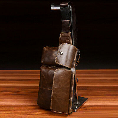 Men Casual Vintage Chest Bag Genuine Leather Crossbody Bag Cell Phone Pouch