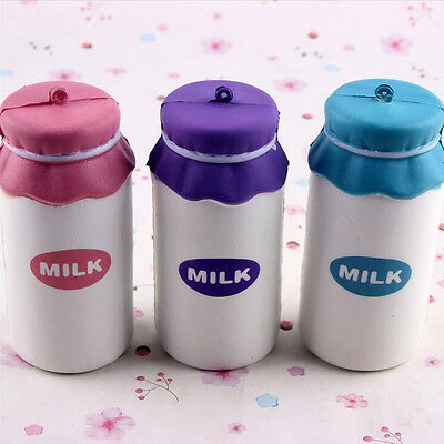 10X5CM Cute Milk Bottle Model Squishy Toys Stress Reliever Phone Chain Hang Deco