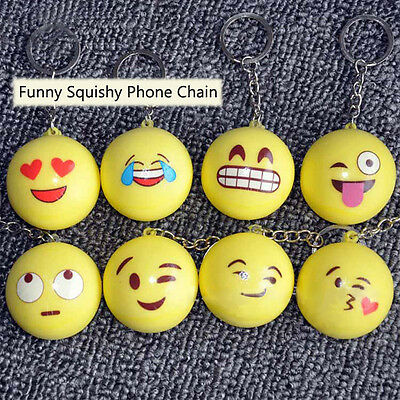 5PCS Honana Funny Emoji Face Squishy Toys Stress Reliever Phone Chain Hang Decor