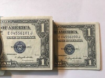 1935-H $1 Silver Certificates 100 Pack Consecutive Uncirculated W/MOTTO