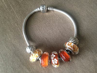 Authentic Genuine Pandora silver bracelet with orange charms murano glass flower
