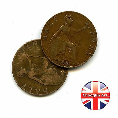 A pair of 1920 British Bronze GEORGE V HALFPENNY Coins