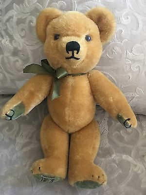 "Harrods  bear merrythought 16"" jointed bear woth green bow paws and feet"