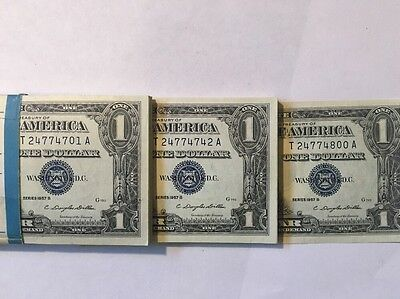 Us 1957 B $1 100 Consecutive One Dollar Bill Silver Certificates Uncirculated