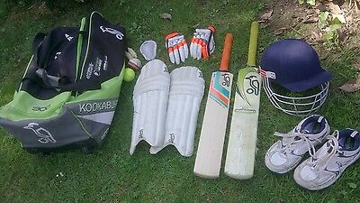 Boys cricket package bat helmet pads spikes bag gloves