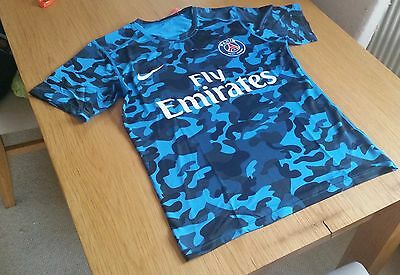 Paris St Germain Blue camo tight fitting shirt fits like tight small PSG jersey