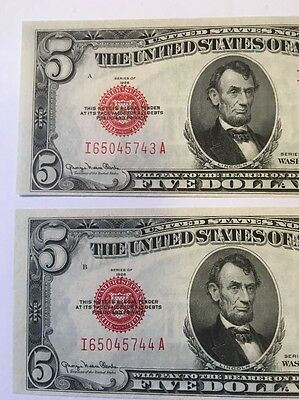 2 $5 1928F United States Note IA Block Consecutive Uncirculated