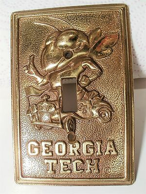 Vintage Rare Brass Light Switch Plate With Georgia Tech Mascot - Marked W1456