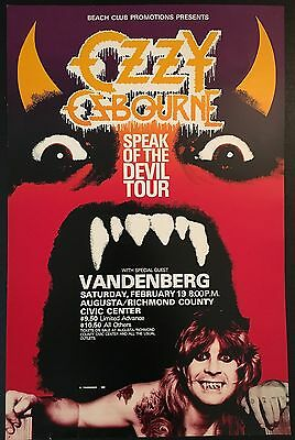 Ozzy Osbourne Speak of the Devil Black Sabbath RARE Original Tour Poster 80s !!!