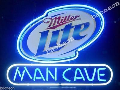 New Miller Lite Logo Man Cave HANDCRAFTED REAL GLASS BEER BAR NEON LIGHT SIGN