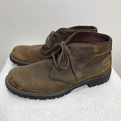 CLARKS Men's Roar Chukka Boots 12 Brown Leather Lace Up Ankle Shoes 78596