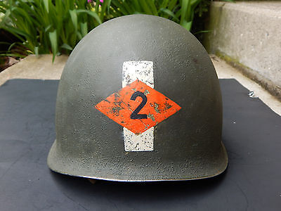 WWII US Captain 2nd RANGERS FRONT SEAM Helmet