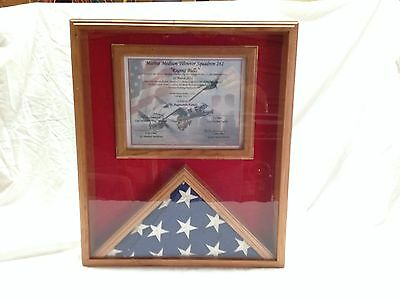 Flag and Certificate Display Case, Cherry Wood, Flag Display, 3x5 Flag Display