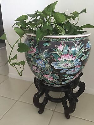 """Vintage Antique Chinese Porcelain Fish Bowl Planter """"Birds & Flowers"""" with Stand"""