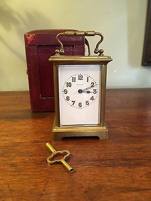 Antique Tiffany Circa 1900 Carriage Clock w/Key and Vintage Travel Case
