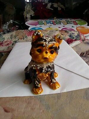 Jeweled Collection Brown & BlackTerrier Dog Jeweled Hinged Trinket Box  in Box