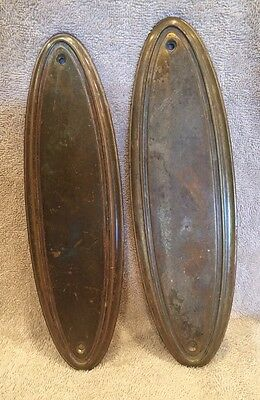 """Antique Vintage Pair Of Stamped Brass Oval Door Push Plates Escutcheons 10 1/2"""""""