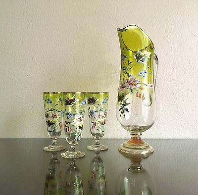 Fine Antique Bohemian Chartreuse Glass Lemonade Set w/ Enamel Floral Decor