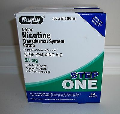 Rugby Nicotine Transdermal System Patch Clear Step 1 21mg Exp. 05/2019 (3 Boxes}