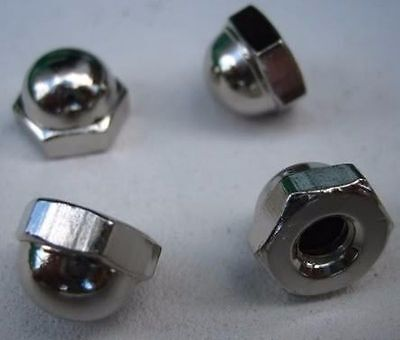 "7/16"" Hex Acorn Cap Nuts 1/4-20 Nickel Machines Cars Trucks Manufacturing"