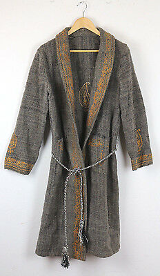 Vintage wool Robe Old Man's Dressing Gown Costume embroidered size small