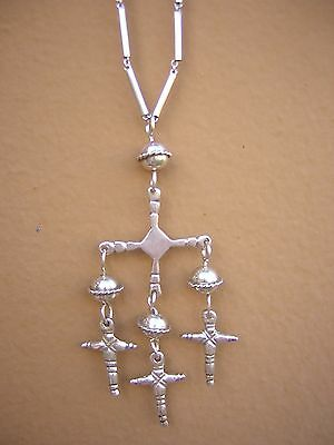 "Vintage TAXCO Mexico Sterling Silver YALALAG Cross Pendant 22 1/2"" Chain"