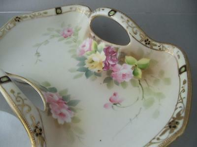 Antique Vtg Nippon Hand Painted Roses Flowers Gold Moriage Porcelain Dish Bowl