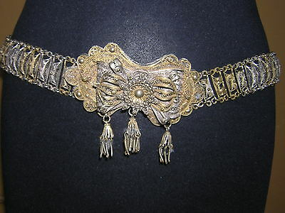 Big Ornate Tassled Rare Gorgeous Antique Ottoman Turkish Silver Filigree Belt