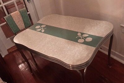 RARE Retro Chrome Leg Table, Chairs Green Apple Cracked Ice Diner Kitchen + Leaf
