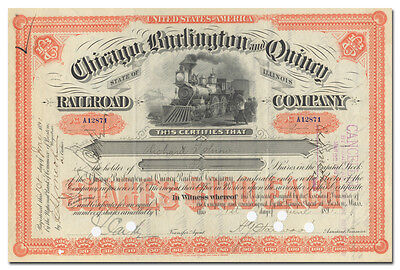 Chicago, Burlington and Quincy Railroad Company Stock Certificate (1890's)