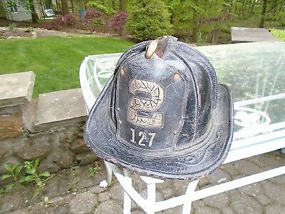 FDNY vintage fire helmet Engine company 2 solid style front shield  disbanded un