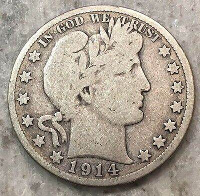 1914-S Barber Half Dollar BETTER DATE - FREE SHIPPING!!!!!!!!!!!!!!
