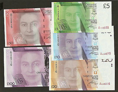 2010 Gibraltar £5/10 /20 /50/100 Pounds Completed Set Uncirculated