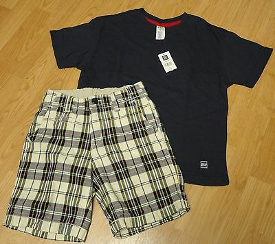 Boys Gap Size 7-8 NWT navy s/s t-shirt and flat front plaid cotton shorts