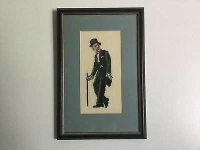 Framed cross stitch embroidery, elegant Fred Astaire like gentleman