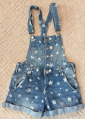 H&M Girls Youth Kids Denim Blue Star Print Jean Short Overalls Size 12