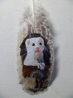 FERRET,WHITE- Hand painted rare turkey feather, by artist W. W. Hoffert