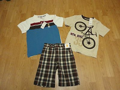 Boys new with tags Gymboree size 7 s/s polo shirt, bike t-shirt & cotton shorts