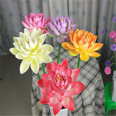 Artificial Fake Lotus Flower Bouquet Water Lily Pool Plants Home