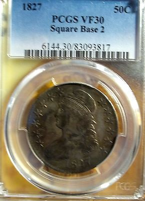 1827 50C Capped Bust Half Dollar PCGS VF-30   ( Square Base 2 )