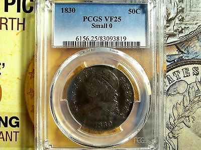 1830 50C Capped Bust Half Dollar PCGS VF-25  ( Small 0 )
