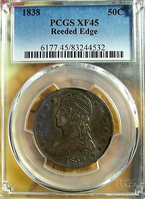 1838 50C Capped Bust Half Dollar PCGS XF-45   ( Reeded Edge)