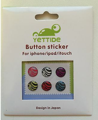 iPhone iPad iTouch home button sticker - zebra stripe pattern