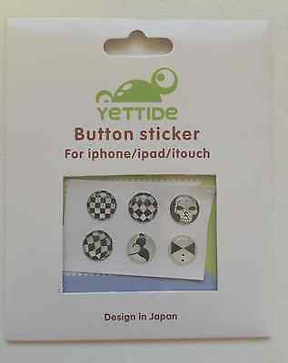 iPhone iPad iTouch home button sticker - Black and white cool patterns!