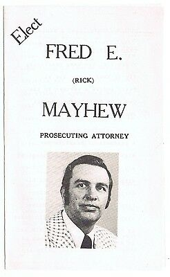 Old 1970s Fred Mayhew Knox County Prosecutor Ohio Political Campaign Ad Brochure