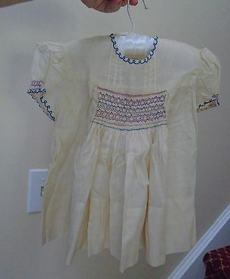 Vintage Baby Dress Hand Smocked pink blue batiste sz 12 month 1 yr doll 1950s