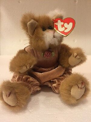 ty Attic Treasures: Pouncer - Jointed Cat Toy. Orig Tag, Beige Fur, Pink Jumper