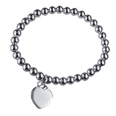 Baby's/toddlers Italian Made S/silver Bead Bracelet With Heart Shaped Charm