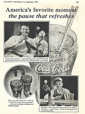 1937 Vintage Coca Cola Soda Coke Ad Pause That Refreshes