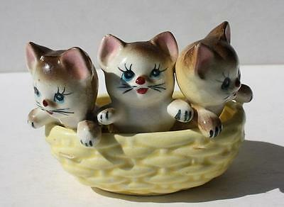Vintage 3 Cats-Kittens in a Woven Yellow Basket Figurine Ceramic-Porcelain-CUTIE